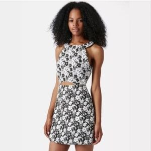 Topshop Mono Floral Dress sz 6 Black White Cutout